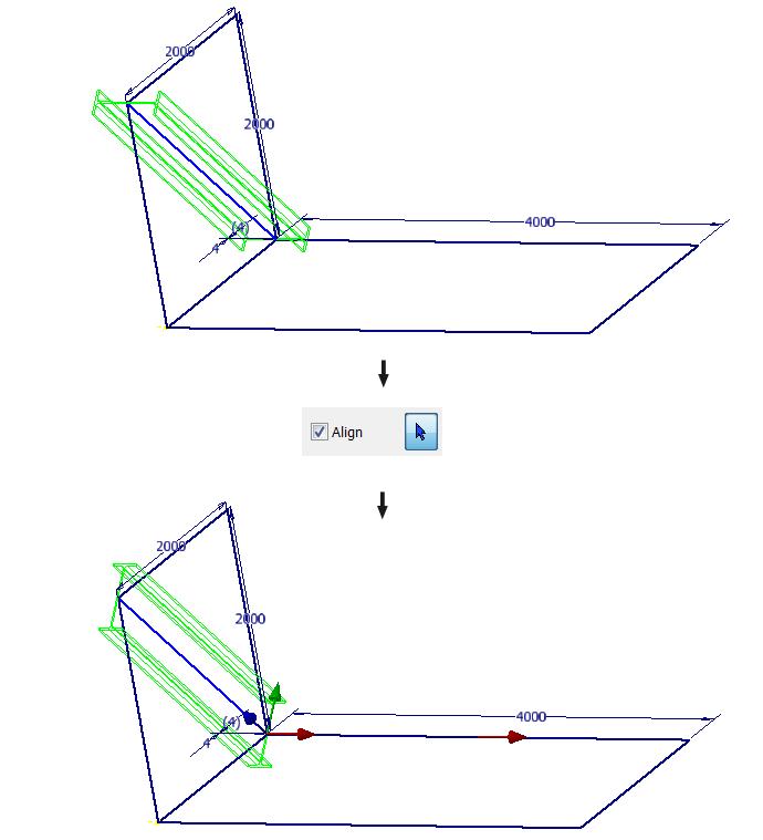 Alignment of a frame member through geometry
